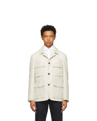 Z Zegna Beige And White Wool Houndstooth Blazer