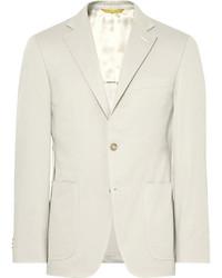 Beige kei slim fit stretch cotton twill suit jacket medium 4110360