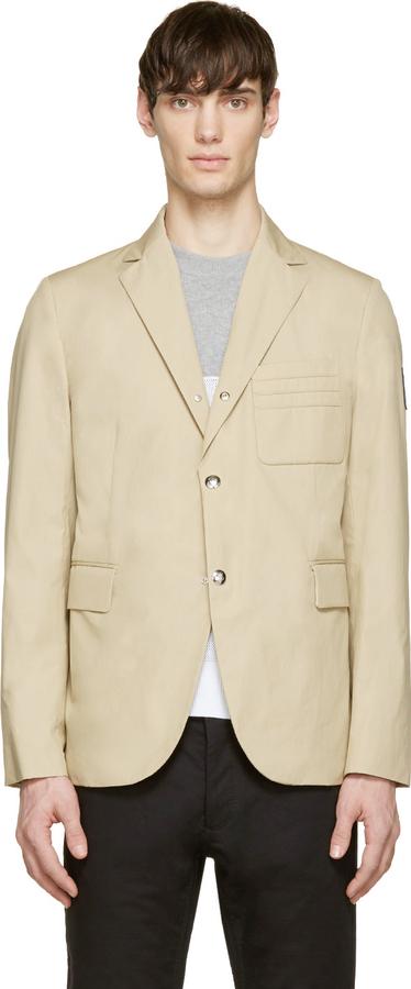 ... Moncler Gamme Bleu Beige Cotton Classic Blazer ...