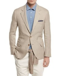Linen wool silk deconstructed sport jacket sand medium 1246450