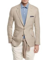 Linen wool silk deconstructed sport jacket sand medium 1246450