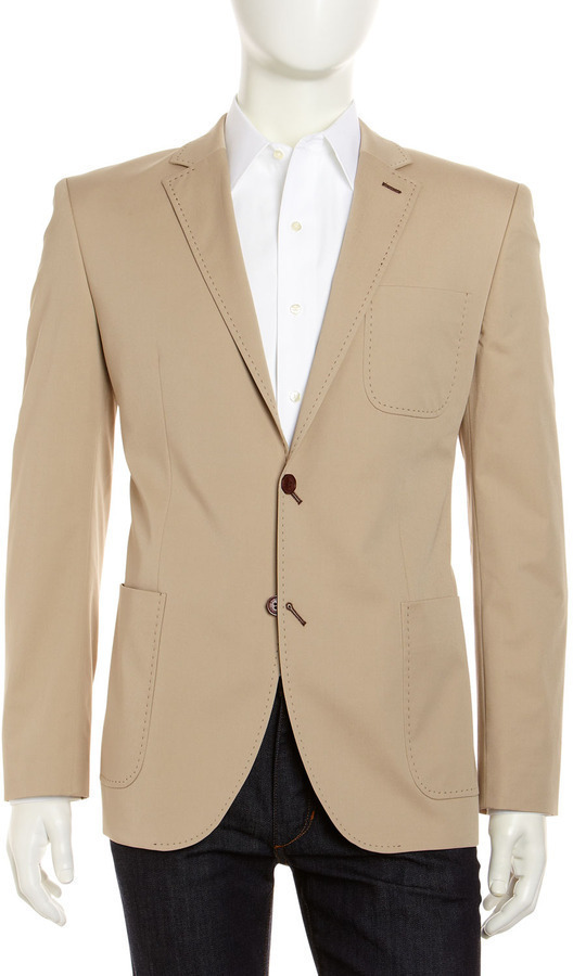 Bogosse Pickstitch Trim Sport Jacket Beige