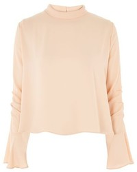 Topshop Ruched Sleeve High Neck Blouse