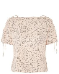 Topshop Spot Lattice Shoulder Top