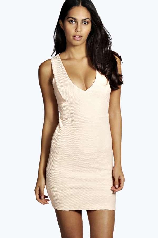 Boohoo Callie Textured Plunge Neck Bodycon Dress | Where to buy ...