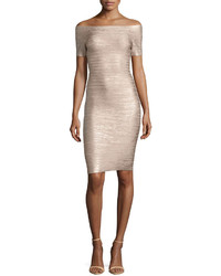 Herve Leger Car Bandage Cocktail Dress Champagne Gold