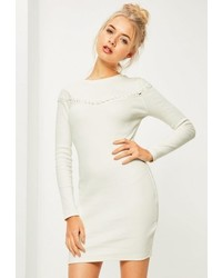 Missguided Cream Button Across Long Sleeve Bodycon Dress