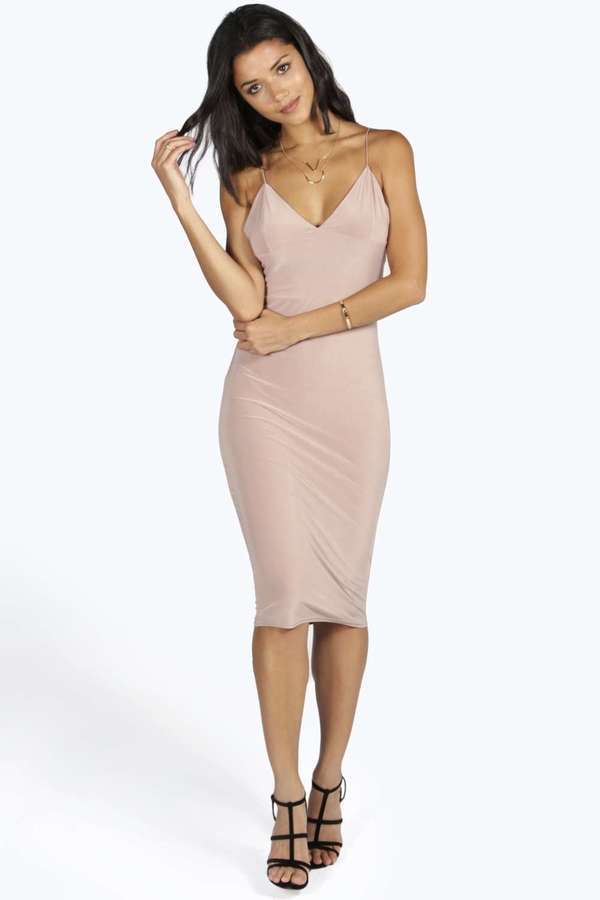 Beige Bodycon Dresses Boohoo Karen Slinky Bodycon Midi Dress ... d2426e888