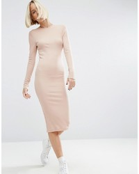 Asos Midi Body Conscious Dress In Rib With Long Sleeves