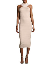 Cushnie et Ochs Sleeveless Bandage Midi Cocktail Dress Khaki