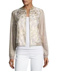 Glenna textured metallic bomber jacket medium 3768074