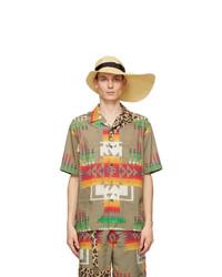 Sacai Tan Paper Asymmetric Brim Beach Hat