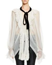 Chloe long sleeve ruffle trim tie neck blouse beige medium 846929