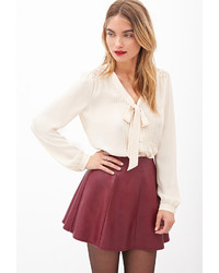 Forever 21 Contemporary Pintucked Lace Button Down Blouse