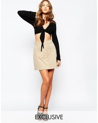 Button front mini skirt with pocket detail in cordurory medium 373940