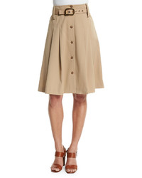 Michael Kors Michl Kors Pleated Button Front Belted Skirt Dune