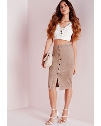 Missguided Button Through Faux Suede Midi Skirt Taupe