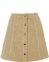Topshop Tall Cord Button Front A Line Skirt