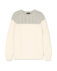 J.Crew Allen Two Tone Cable Knit Wool Blend And Brushed Knitted Sweater