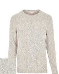 River Island Beige Cable Knit Sweater