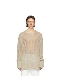 Maison Margiela Beige Chain Stitch Gauge 3 Sweater