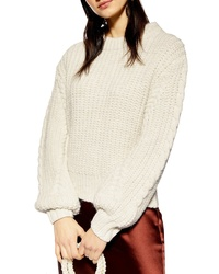 Topshop Bishop Sleeve Cable Knit Sweater