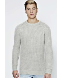Boohoo Raglan Fisherman Jumper With Elbow Patches