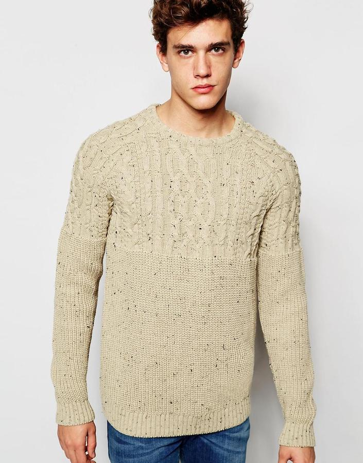 Brand Cable Knit Sweater With Nepp