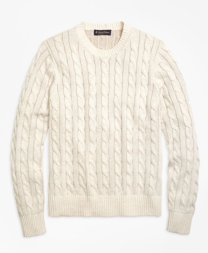 Brooks Brothers Heathered Cable Knit Crewneck Sweater | Where to ...