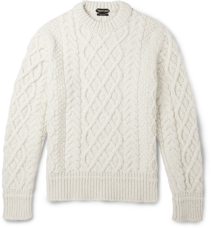 Tom Ford Cable Knit Merino Wool And Cashmere Blend Sweater | Where ...