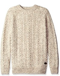 Scotch & Soda Crewneck Pullover With Cable Pattern In Wool Quality