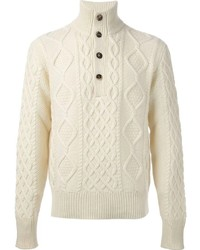 Michael Bastian Michl Bastian Cable Knit Buttoned Funnel Neck Sweater