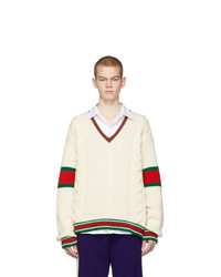 Gucci Off White Cable Knit V Neck Sweater