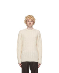 Brioni Off White Cashmere Cable Knit Sweater