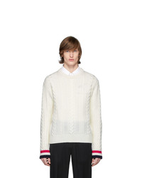 Thom Browne Off White Merino Aran Cable Sweater