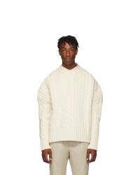 AMI Alexandre Mattiussi Off White Oversized Torsades Crewneck Sweater