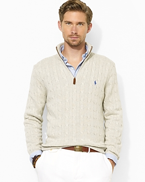 Ralph Lauren Polo Half Zip Cable Knit Tussah Silk Sweater