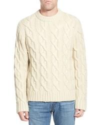 Regular fit cable knit crewneck wool blend sweater medium 365418