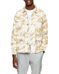Beige Camouflage Shirt Jacket