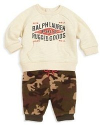 Ralph Lauren Babys Two Piece Sweatshirt Camo Jogger Pants Set