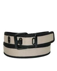 Ctm two tone canvas casual belt beige large medium 78755
