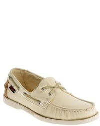 Beige Canvas Boat Shoes for Men | Lookastic