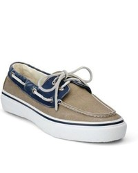 Sperry topsider shoes bahama boat shoe navy taupe canvas medium 264589