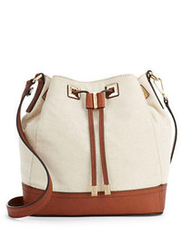 Calvin Klein Leather Canvas Bucket Bag