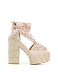 Beige Canvas Heeled Sandals