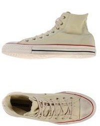 Beige Canvas High Top Sneakers