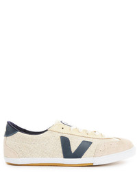 Beige Canvas Low Top Sneakers