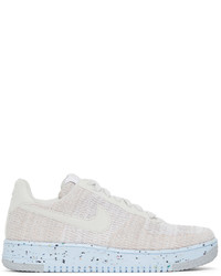 Nike White Grey Flyknit Air Force 1 Crater Sneakers