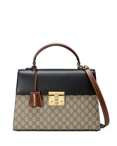 58a99dca4a11c ... Beige Canvas Satchel Bags Gucci Padlock Gg Supreme Top Handle Satchel  Bag Beigeblackcuir ...