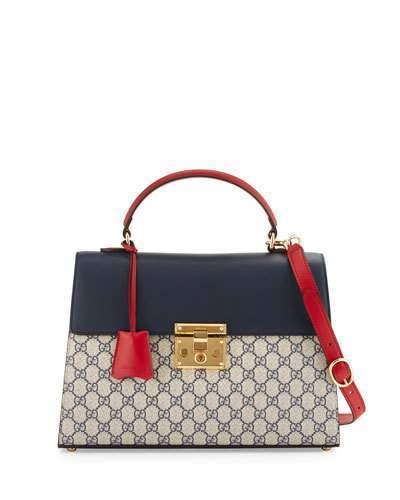 b6fc54c77f55c ... Gucci Padlock Gg Supreme Top Handle Satchel Bag Beigebluered ...